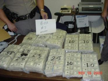 Cash seized from a tractor trailer