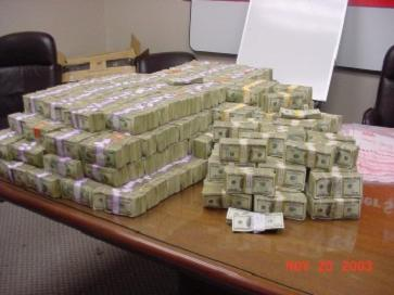 Bundles of cash that was seized by a Texas State Trooper in Jim Wells County