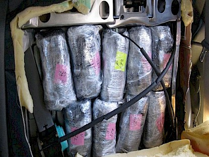 38 pounds of meth found hidden in vehicle seat.